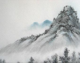 Mountain Landscape, Original Large Chinese Brush Painting (17x34)