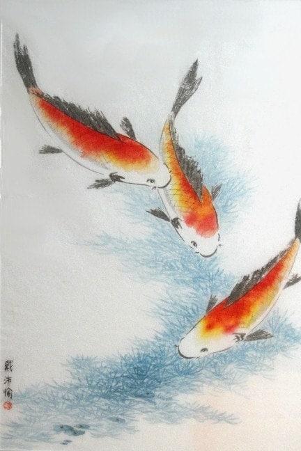 koi fish original large framed chinese brush painting 28x38