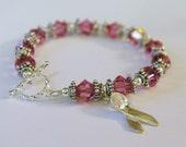 Breast Cancer Awareness Crystal Bracelet - Sterling