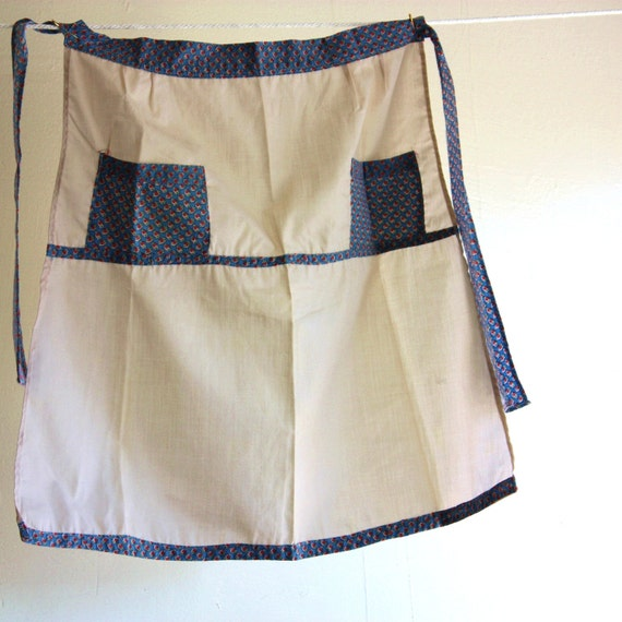 Vintage 1930's Home Sewn Apron Muslin and Blue Strawberry Feed Sack Print Sweet Farmhouse