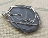 Reserved Pendant Botswana Agate Free form Sterling Silver Wire Wrapped