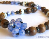 Periwinkle Crystal Woven Cluster Wood Beaded Matinee Length Necklace