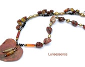 Asymmetrical Necklace Autumn Russet Copper Leaf Pendant Jasper Onyx Carnelian