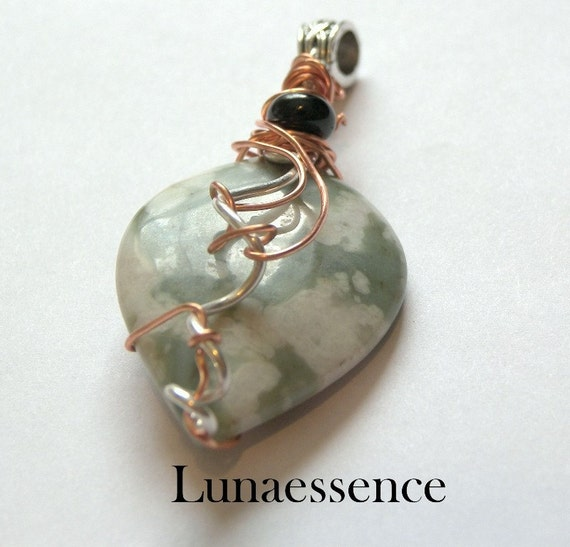Peace Stone Jade Heart Leaf Pendant  Sterling Silver Copper Wire Wrapped