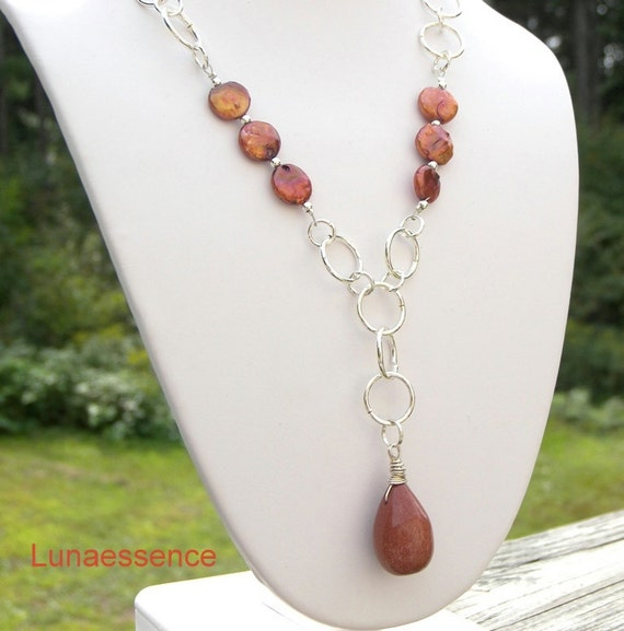 Gold Stone Briolette Wire Wrapped Copper Pearl Coin Necklace