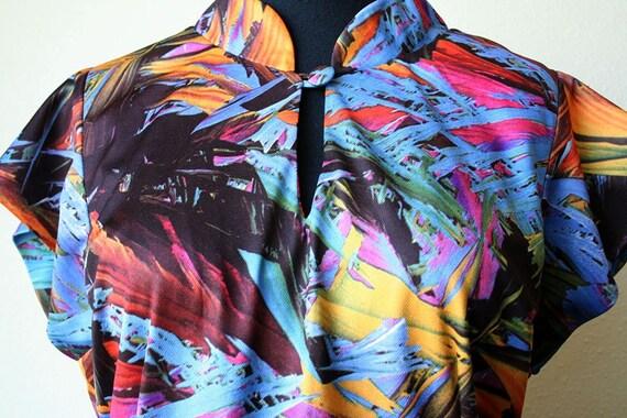 Vintage Debra's Fashions 70's style hawaiian print asian style dress, marked size 14