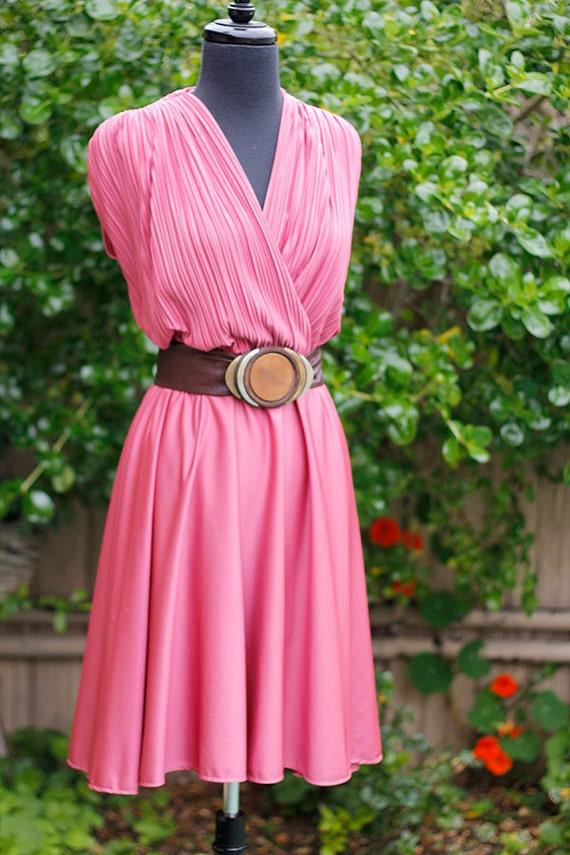 Vintage 1980s dusty rose Liz Roberts flirty dress