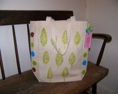 Leaf and Polka Dot Tote Bag Christmas in July Sale
