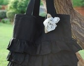 Black Linen Ruffle Bag With White Rose Brooch
