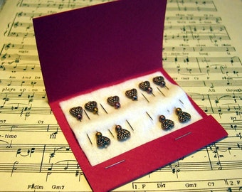 Decorative Copper Heart Sewing Pins - Pincushion Pins - Set of Ten