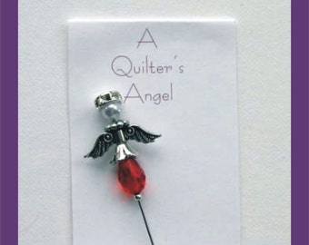 Red Angel Pin - Quilter's Angel Stick Pin - Gift for Quilter - Secret Sister Gift