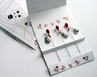 Ladybug Embellishment Pins - Pincushion Pins - Ladybug Lover Pins - Sewing Accessory - Quilter Gift - Long Stick Pins -