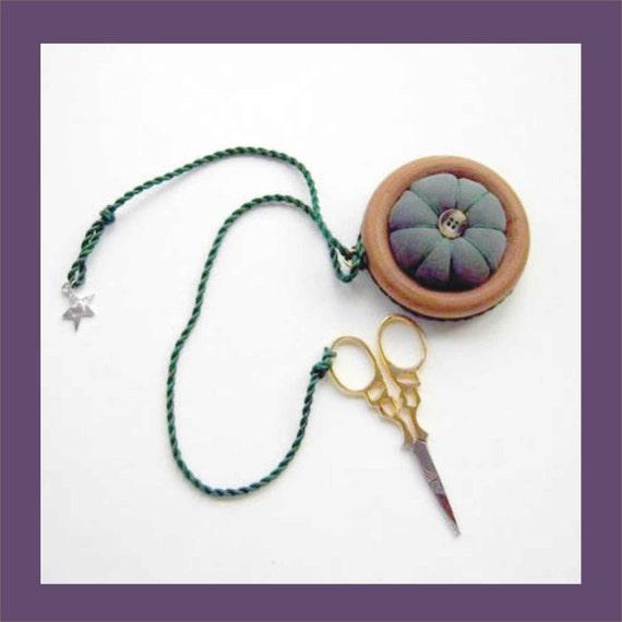 Scissor Fob - Moss Green Silk Pincushion - embroidery scissors