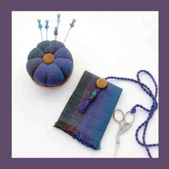 Handwoven Pincushion and  Needlecase - Matching Crystal Pins