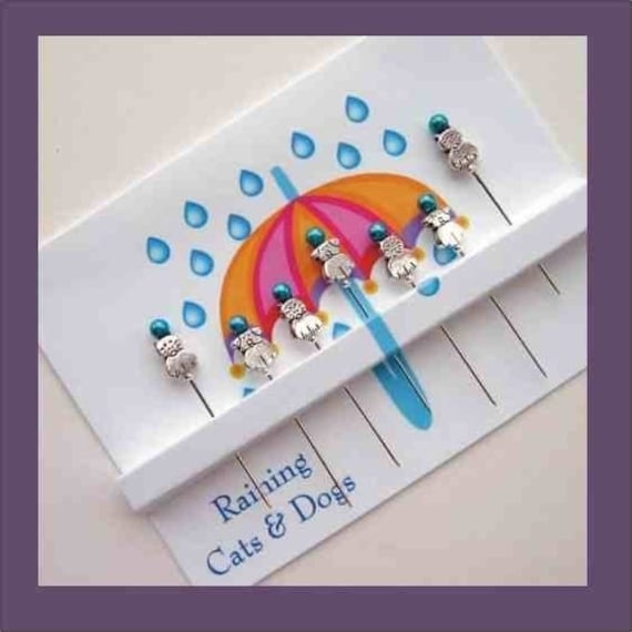 Decorative Beaded Sewing Pins - Raining Cats & Dogs - Pincushion Pets - Quilter Gift - Sewer Gift - Cat Lovers - Dog Lovers - Novelty Pins
