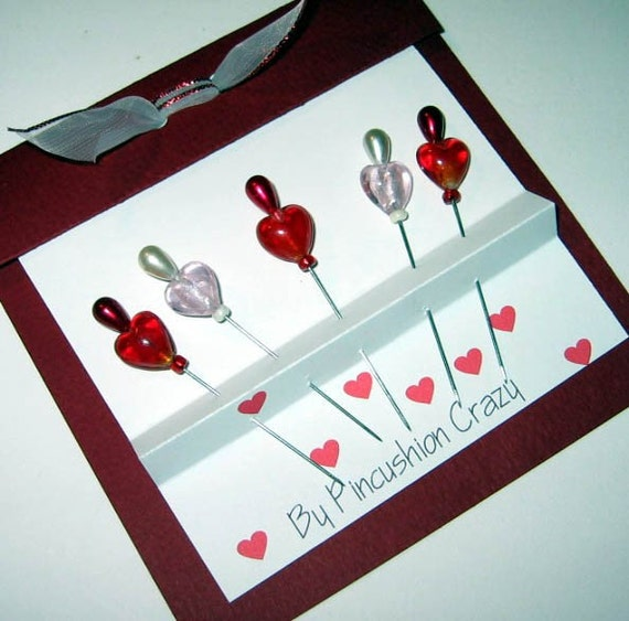 Decorative Quilting Pins - Heart Shaped - Lampwork - LAST ONE