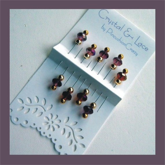 Purple Decorative Pins - Sparkling Crystals - Lacey Packaging - Set of 9