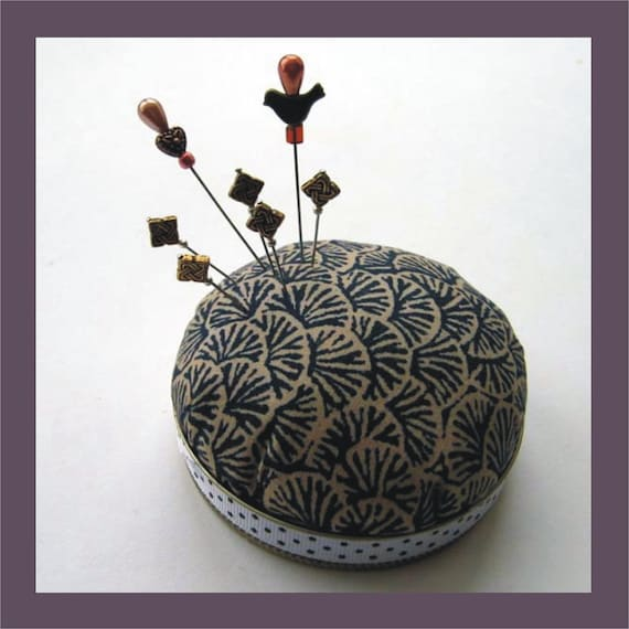 Asian Inspired Pincushion - Seven Embellishment Pins - Decorative Sewing Pins