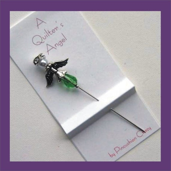 Green Angel Pin - A Quilter's Angel - Decorative Sewing Pin - Scrapbooking Pin - Cardmaking Pin - Gift for Quilter