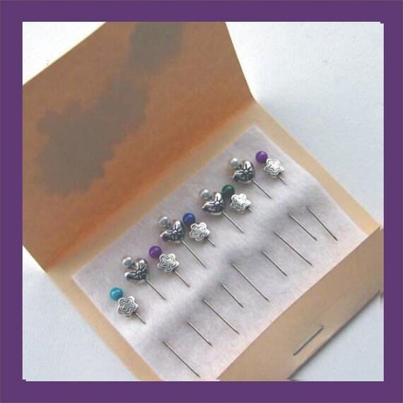 Embellishment Pins - Hearts & Flowers - Pincushion Pins - Scrapbooking Pins