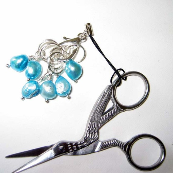 Stitch Markers - Turquoise Blue Freshwater Pearl - Stork Embroidery Scissors - Set of 6