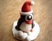 RESERVED LISTING Santa Pinguclops mini christmas themed penguin cyclops monster polymer clay terrarium sculpture