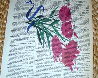 Dictionary Art Floral bouquet printed on antique dictionary book page