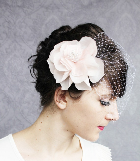 Reserved for Katrina - Birdcage Veil with Two Fancy Lady Flower Fascinators - in the Colors of your Choice