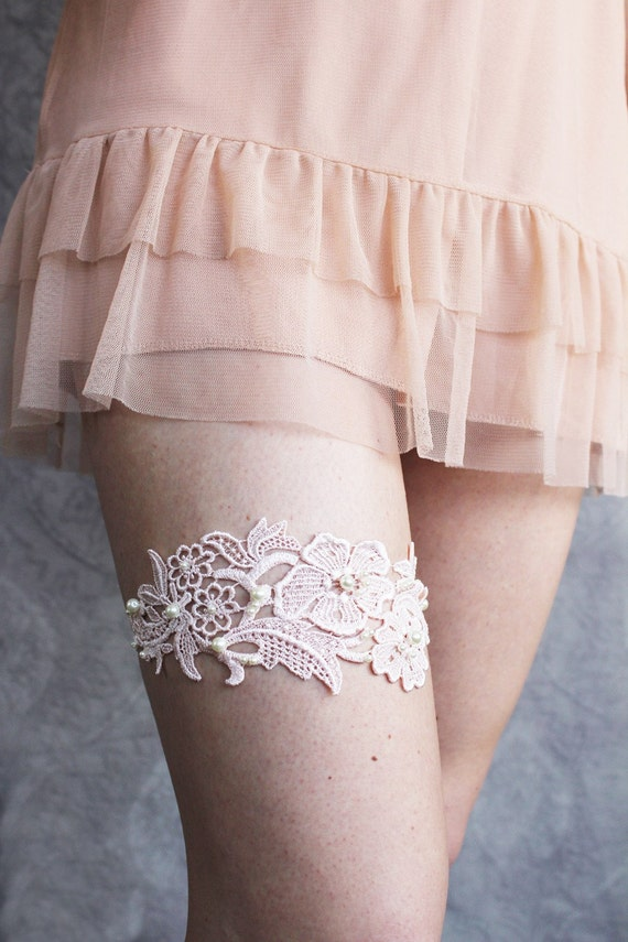 Lace Garter in Pale Pink with Pearls- Limited Edition - Last One