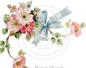 Shabby Vintage Style Pink Wild Rose Spray Blue Bow Waterslide water slide Decals Miniature De-Ro-80