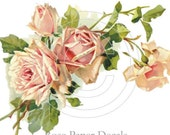 Romantic Shabby Style Cottage Peach Rose Waterslide Water Slide Miniature Decals - De-VF-47
