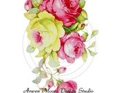 Shabby Romantic Pink Yel Tea Roses Chic Decals ro-96