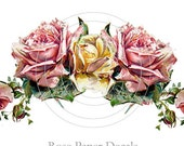 Vintage Chic Shabby Pink Yellow Painted Rose 8 Decals - De-Ro-55