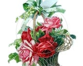 Vintage Shabby Style Pink/Red Rose Basket Spray 4 Decals - De-Ro-12
