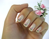 Very Chic Klein Shabby Victorian Pink Boutique Roses Nail Art Waterslide Water Nail Decals Miniature - fw-014