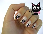 Very Chic Mod Black Cat Pink Gift Bow Nail Art Waterslide Water Decals Miniature - cat-003