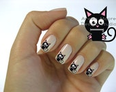 Very Chic Mod Black Cat Zipped Mouth Nail Art Waterslide Water Decals Miniature - cat-004