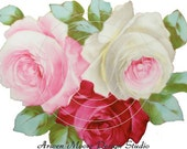 Beautiful Vintage Chic Shabby Tri-Colored Painted Roses Waterslide Water Slide Decals ro-101