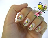 Beautiful Vintage Style Chic Little Blue Bird With Pink Floral Nail Art Waterslide Water Slide Miniture Decals - bd-006