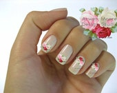 Very Chic Pale Tri Colors Vintage Shabby Roses With Blue Bow Nail Art Waterslide Miniature Water Decals - fw-032