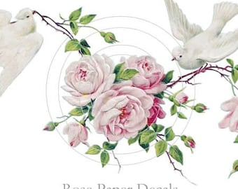 Beautiful Vintage Chic Shabby Pink Roses White Doves waterslide water slide Decals De-Ro-89