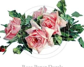 Shabby Vintage Style Pink Cottage Rose Decals De-VF-57