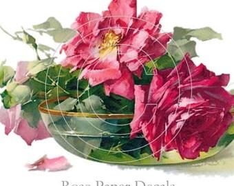 Vintage Beautiful Klein Red Roses Boutique Chic Decals - De-Klein-62