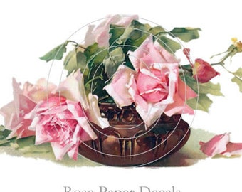 Vintage Beautiful Klein Pink Roses Brown Vase Decals - De-Klein-59