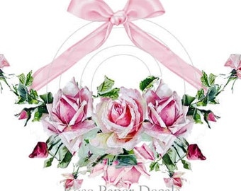 Vintage Chic Shabby Pink Roses Spray Bow Decals ro-50