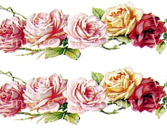 Romantic Victorian Chic Cottage Pink Rose Decals De-VF-73