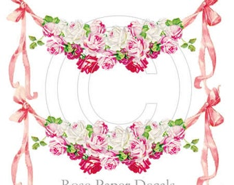 Chic Shabby Vintage Style Lush Pink Rose Swag Decals De-Ro-24
