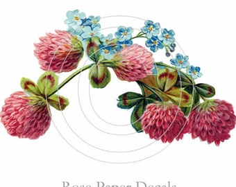 Shabby Vintage Style Pink Floral Spray Chic 14 Decals De-VF-97