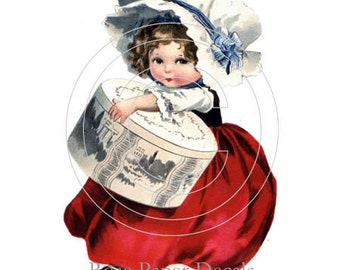 De-VC-39 Chic Shabby Victorian Lil' Girl With Gift Box Decals