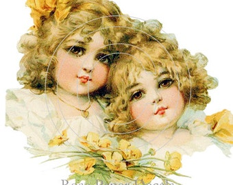 De-VC-75 Victorian Vintage Style Lil Girls w Roses 10 Decals
